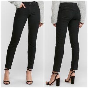 Black Fleece Lined Cozy Mid Rise Jean Leggings